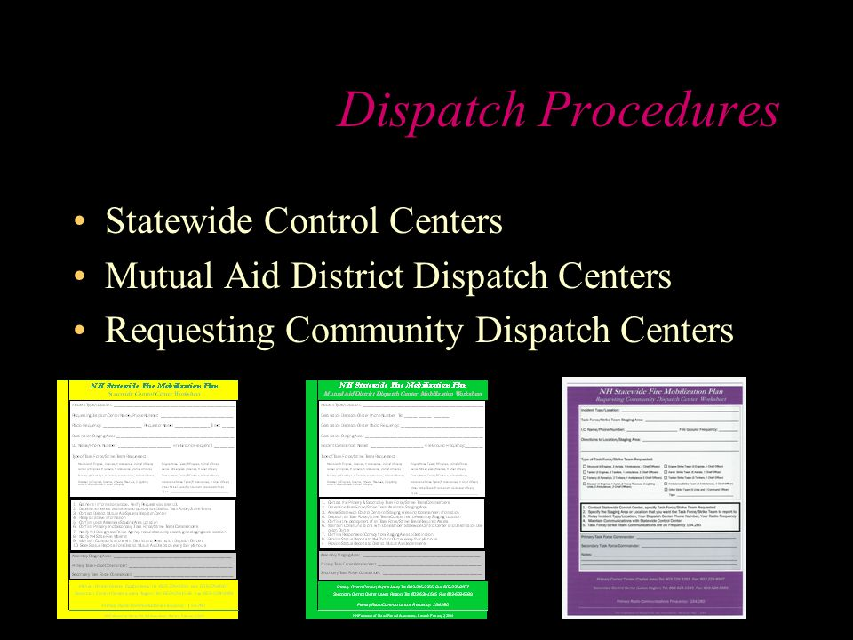 Dispatch Procedures Statewide Control Centers Mutual Aid District Dispatch Centers Requesting Community Dispatch Centers