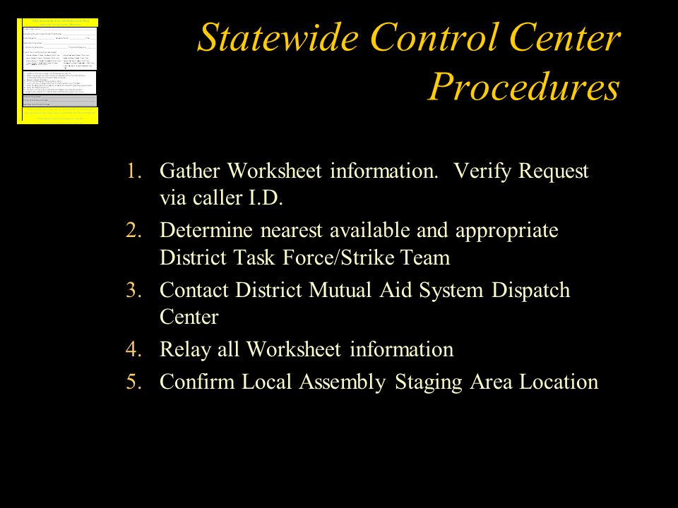 Statewide Control Center Procedures 1.Gather Worksheet information.