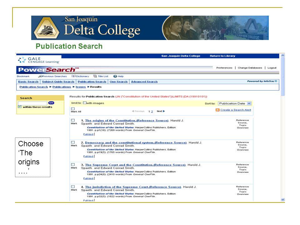 Publication Search Choose 'The origins ….'