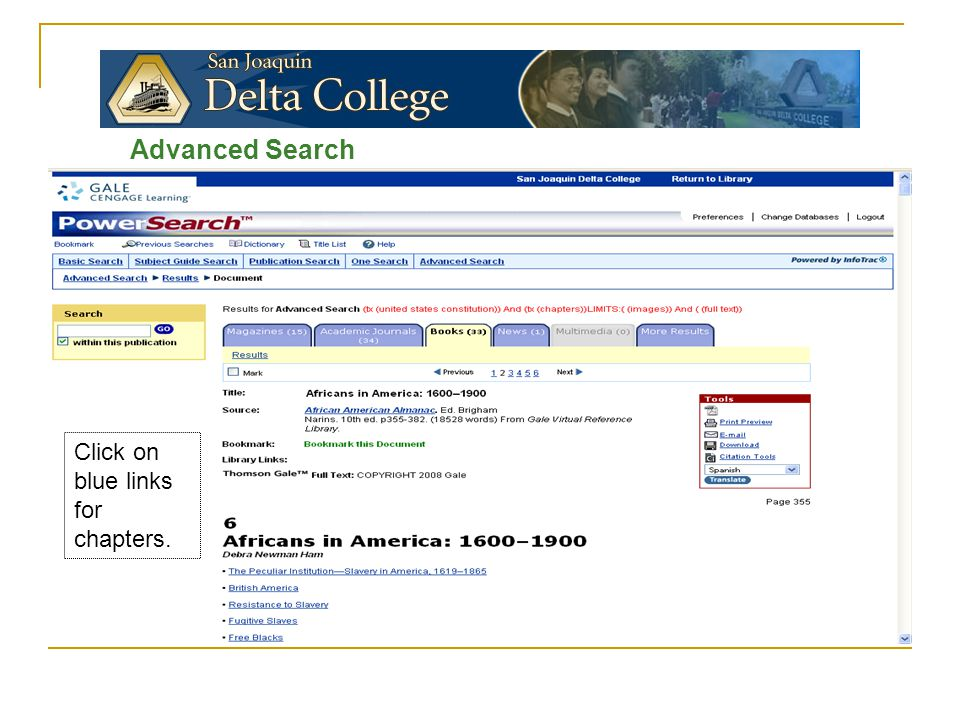 Advanced Search Click on blue links for chapters.