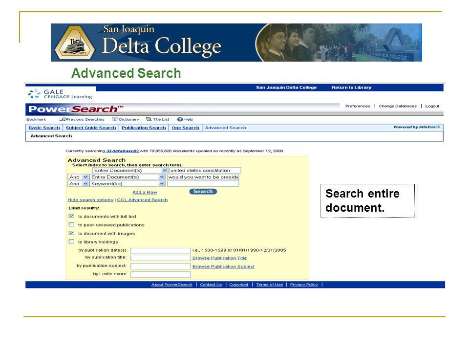 Advanced Search Search entire document.