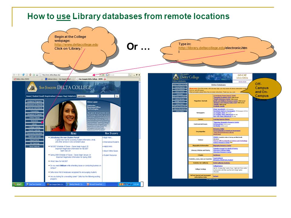 How to use Library databases from remote locations For Assistance, Phone the San Joaquin Delta College Library Reference Desk--(209) 954-5145 or email libreferencedesk@deltacollege.edu 09-14-07libreferencedesk@deltacollege.edu SJDC