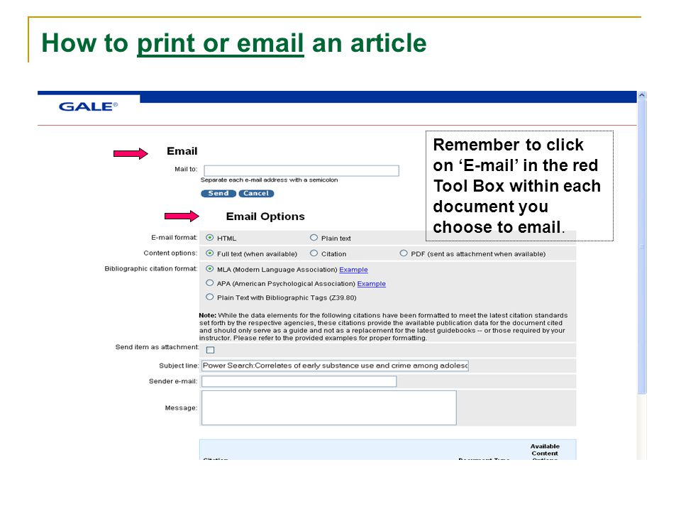 How to print or email an article Remember to click on 'E-mail' in the red Tool Box within each document you choose to email.