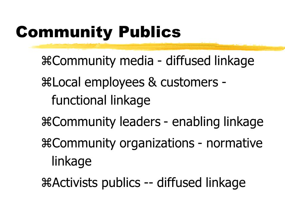 Community Publics zCommunity media - diffused linkage zLocal employees & customers - functional linkage zCommunity leaders - enabling linkage zCommunity organizations - normative linkage zActivists publics -- diffused linkage