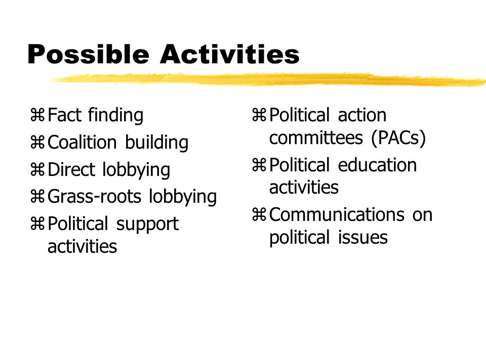 Possible Activities zFact finding zCoalition building zDirect lobbying zGrass-roots lobbying zPolitical support activities z Political action committees (PACs) z Political education activities z Communications on political issues