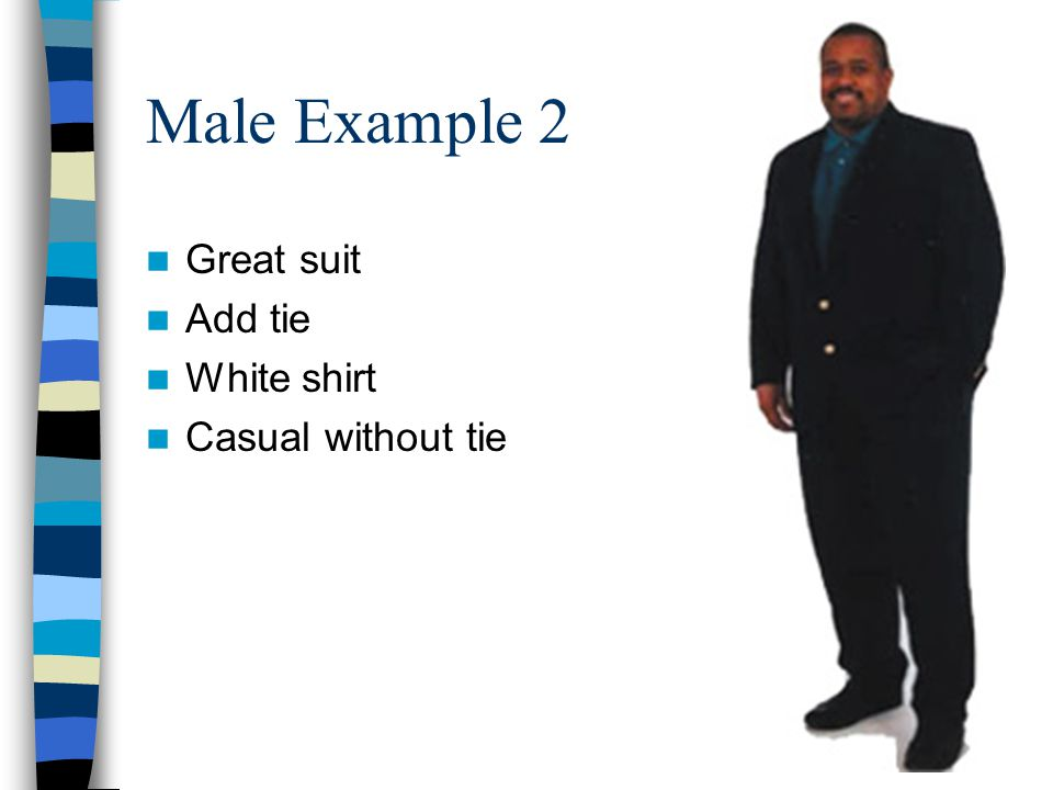 Male Example 3 Prefer matching blazer and slacks Facial hair distracting Pants too long