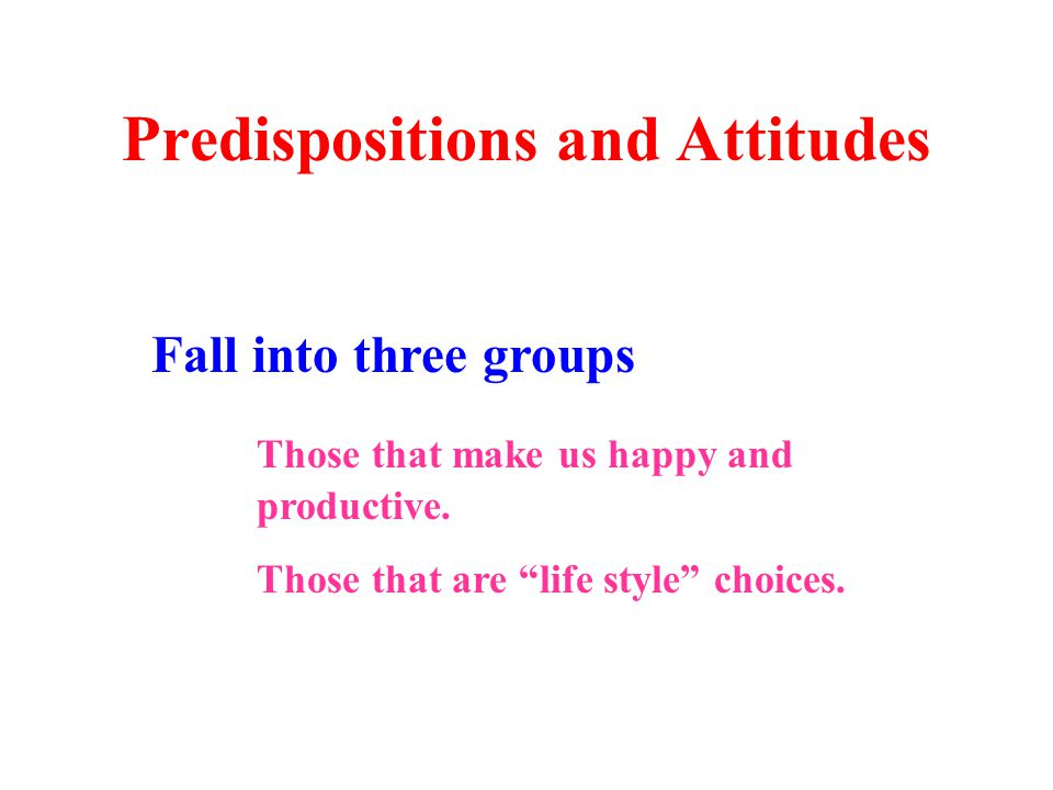 Predispositions and Attitudes Fall into three groups Those that make us happy and productive.