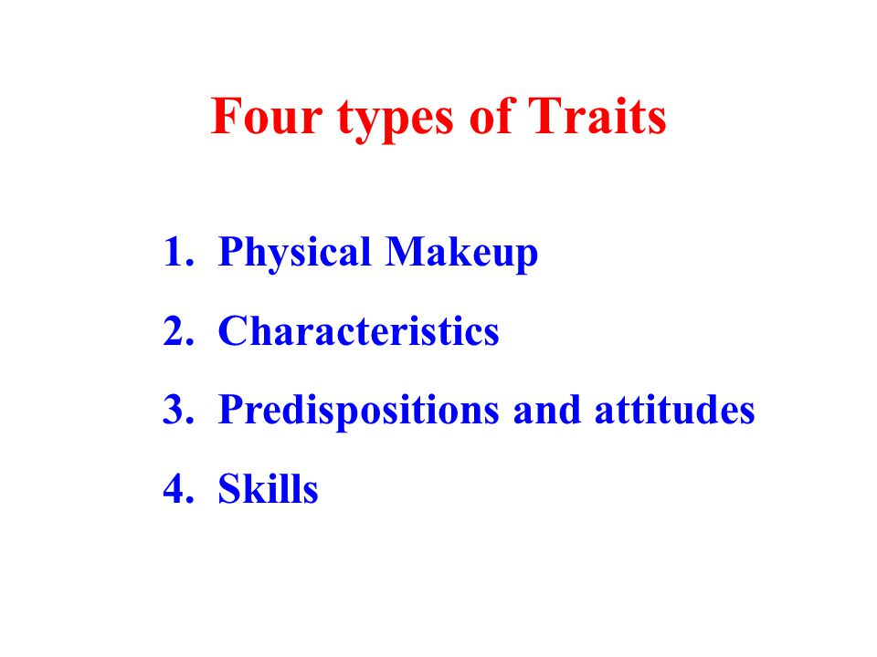 Four types of Traits 1. Physical Makeup 2. Characteristics 3.