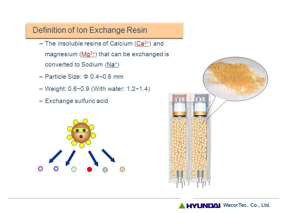 WacorTec. Co., Ltd. Ion Exchange Resin Makeup ● High acidic positive ion exchange resin Shape ● Oval-shaped waterway achieves ion exchange Types ● Hom