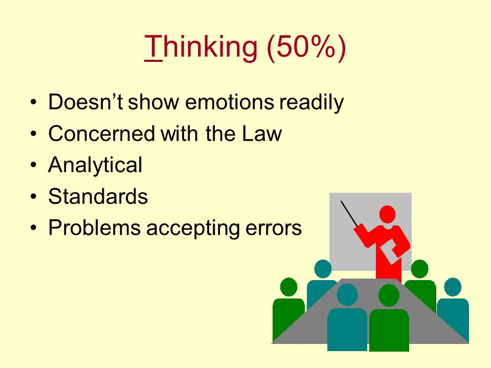 Thinking (50%) Doesn't show emotions readily Concerned with the Law Analytical Standards Problems accepting errors