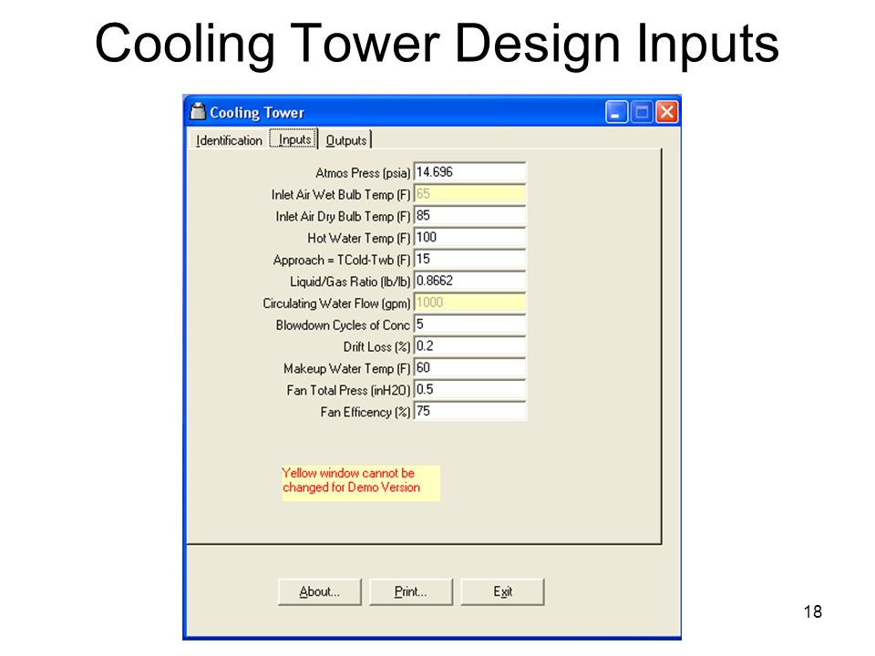 18 Cooling Tower Design Inputs