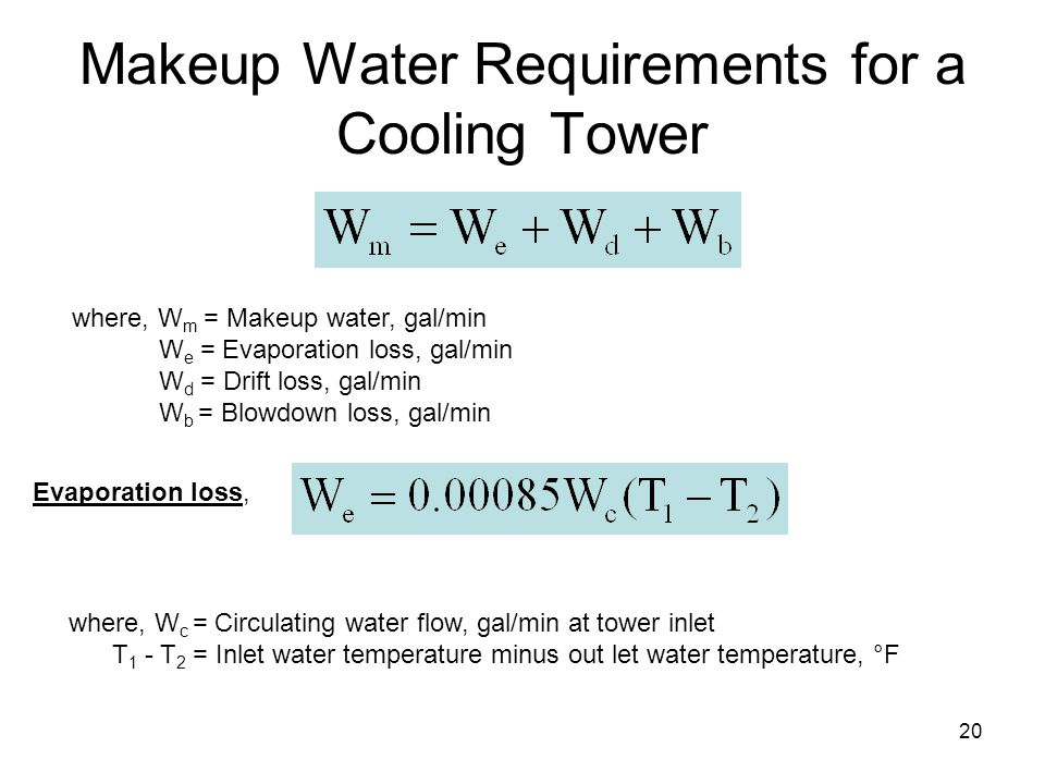 20 Makeup Water Requirements for a Cooling Tower where, W m = Makeup water, gal/min W e = Evaporation loss, gal/min W d = Drift loss, gal/min W b = Bl