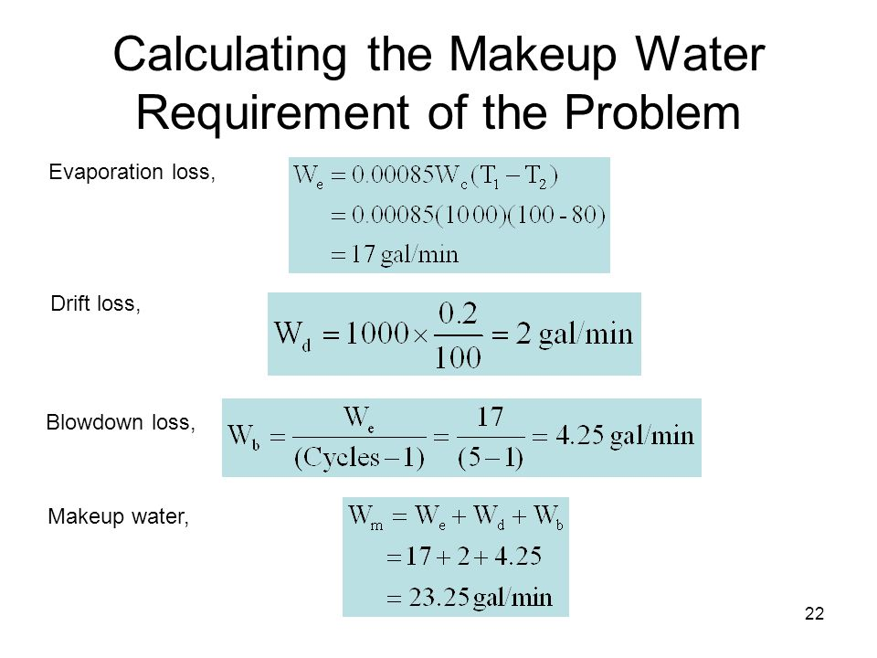 22 Calculating the Makeup Water Requirement of the Problem Evaporation loss, Drift loss, Blowdown loss, Makeup water,