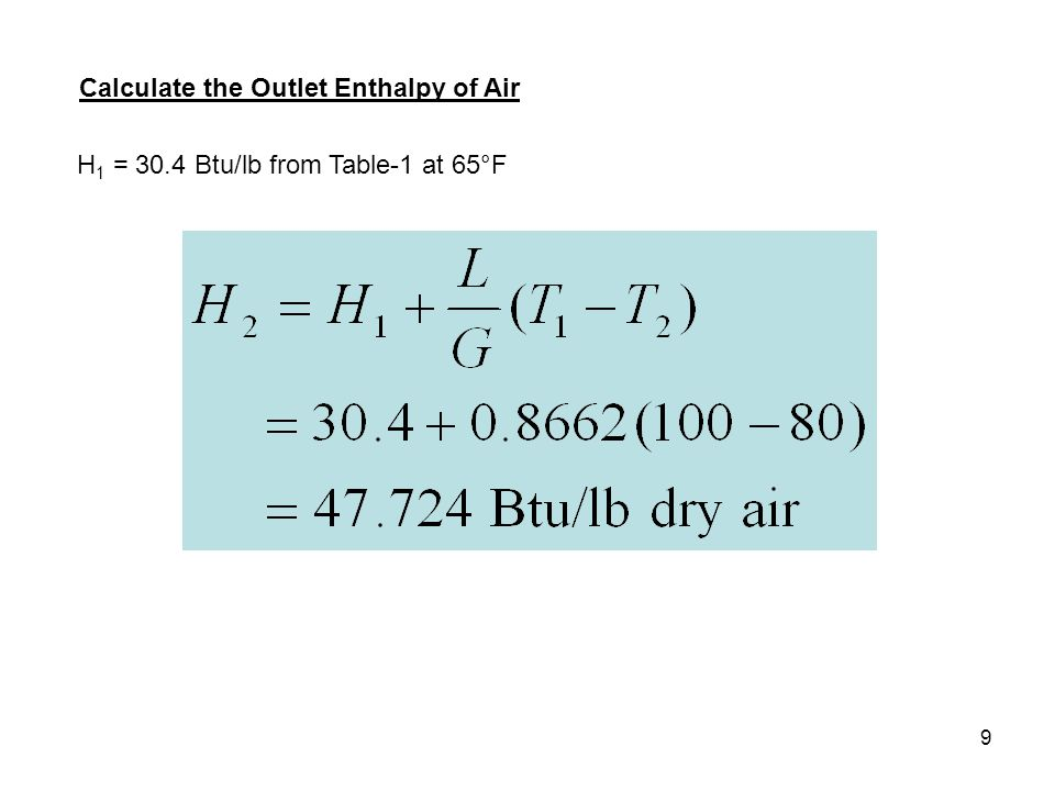 9 Calculate the Outlet Enthalpy of Air H 1 = 30.4 Btu/lb from Table-1 at 65°F