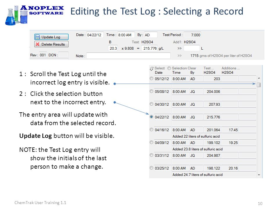 ChemTrak User Training 1.1 Editing the Test Log : Saving New Data 3 :Make changes in the white boxes.
