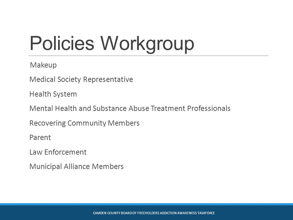 Policies Workgroup Makeup Medical Society Representative Health System Mental Health and Substance Abuse Treatment Professionals Recovering Community