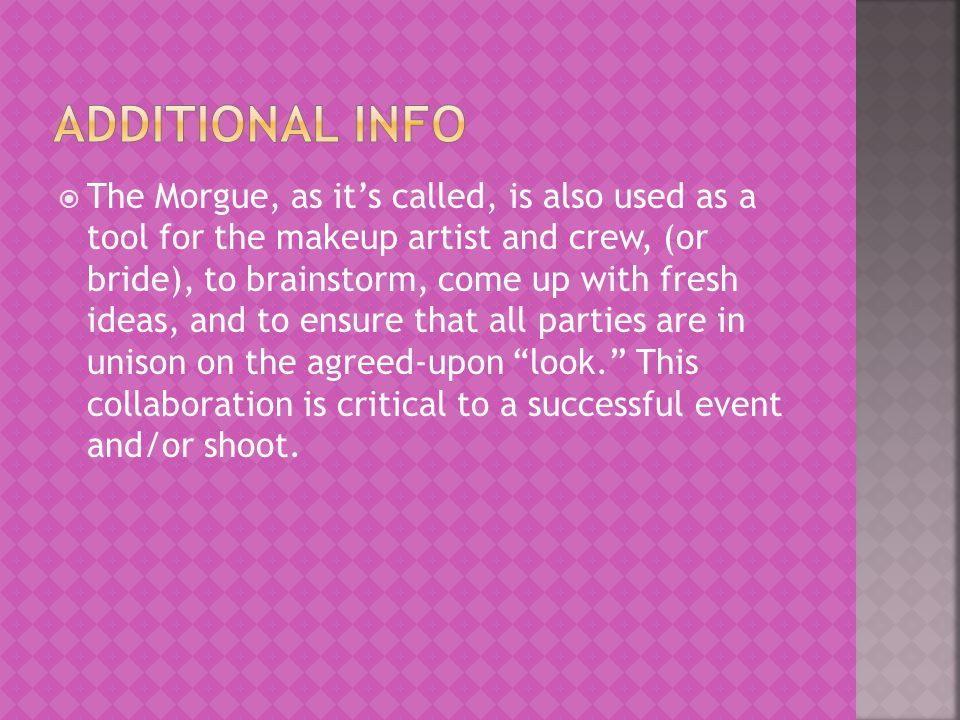  It is first recommended that the makeup artist obtain a binder and plastic insert sheets, or other mounting pages, to periodically add and delete images.