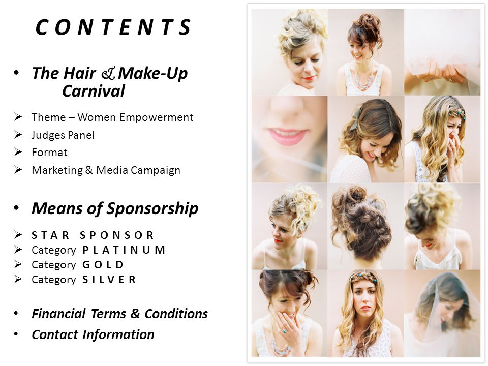 CONTENTS The Hair & Make-Up Carnival  Theme – Women Empowerment  Judges Panel  Format  Marketing & Media Campaign Means of Sponsorship  STAR SPONSOR  Category PLATINUM  Category GOLD  Category SILVER Financial Terms & Conditions Contact Information