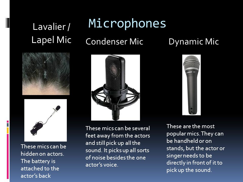 Microphones Lavalier / Lapel Mic Condenser MicDynamic Mic These mics can be hidden on actors.