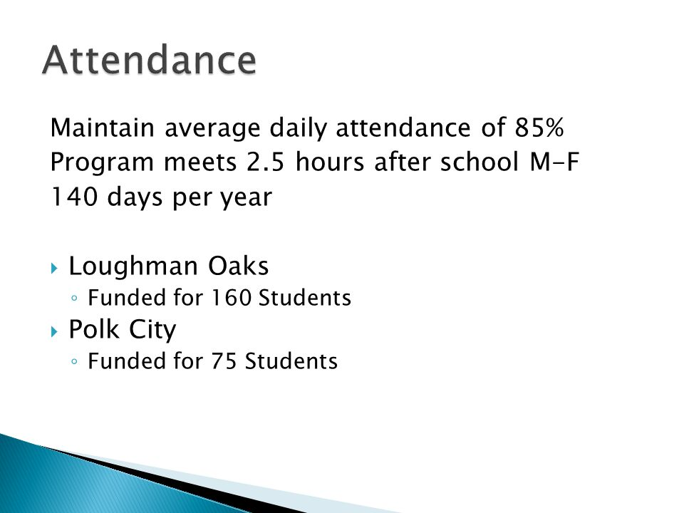 Maintain average daily attendance of 85% Program meets 2.5 hours after school M-F 140 days per year  Loughman Oaks ◦ Funded for 160 Students  Polk City ◦ Funded for 75 Students