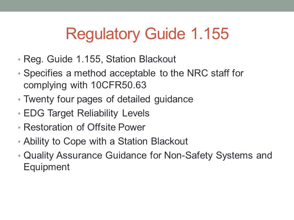 Regulatory Guide 1.155 Reg.