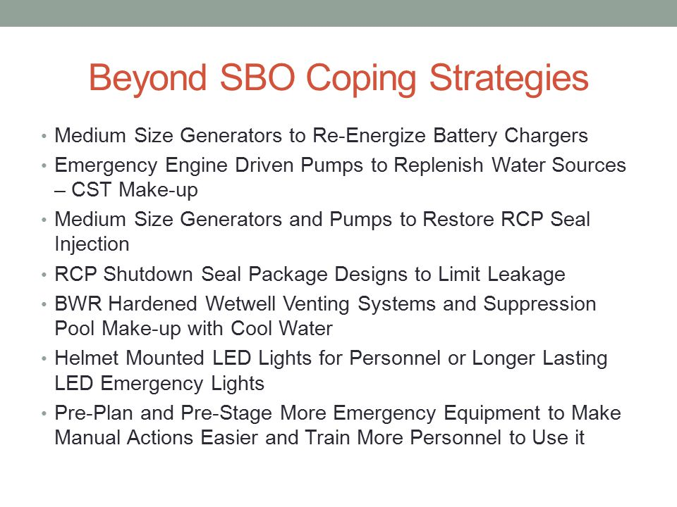 Beyond SBO Coping Strategies Medium Size Generators to Re-Energize Battery Chargers Emergency Engine Driven Pumps to Replenish Water Sources – CST Make-up Medium Size Generators and Pumps to Restore RCP Seal Injection RCP Shutdown Seal Package Designs to Limit Leakage BWR Hardened Wetwell Venting Systems and Suppression Pool Make-up with Cool Water Helmet Mounted LED Lights for Personnel or Longer Lasting LED Emergency Lights Pre-Plan and Pre-Stage More Emergency Equipment to Make Manual Actions Easier and Train More Personnel to Use it