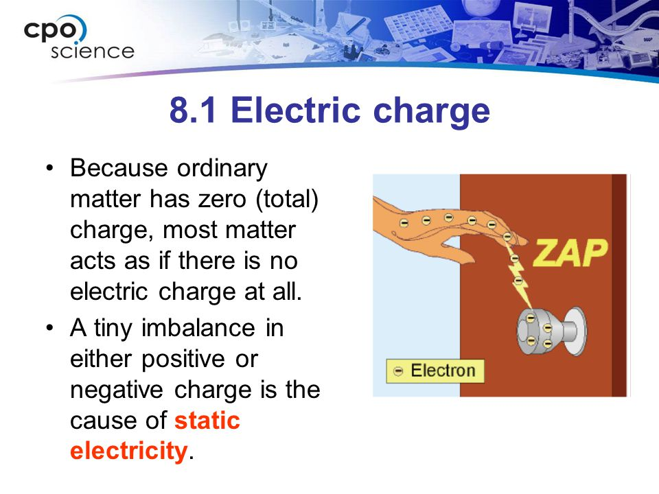 8.1 Electric charge Because ordinary matter has zero (total) charge, most matter acts as if there is no electric charge at all.