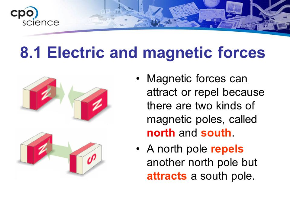 8.1 Electric and magnetic forces Magnetic forces can attract or repel because there are two kinds of magnetic poles, called north and south.