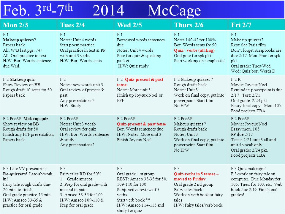 Feb. 3 rd -7 th 2014 McCage Mon 2/3Tues 2/4Wed 2/5Thurs 2/6Fri 2/7 F 1 Makeup quizzes.