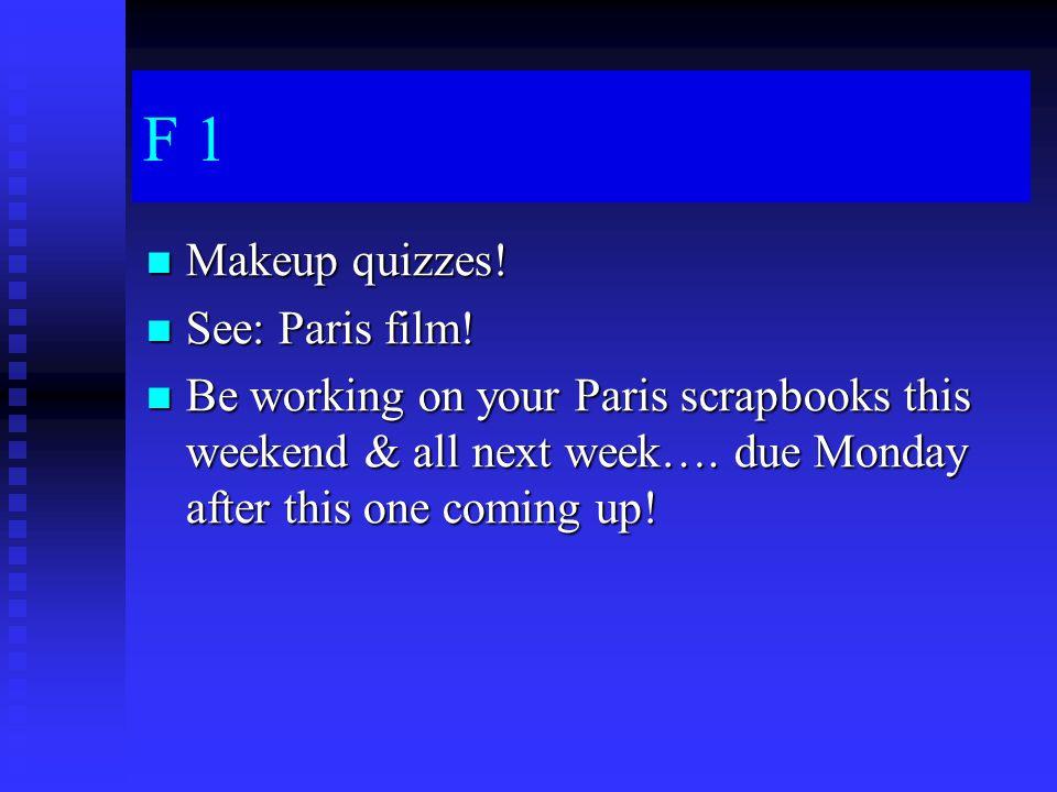 F 1 Makeup quizzes. Makeup quizzes. See: Paris film.
