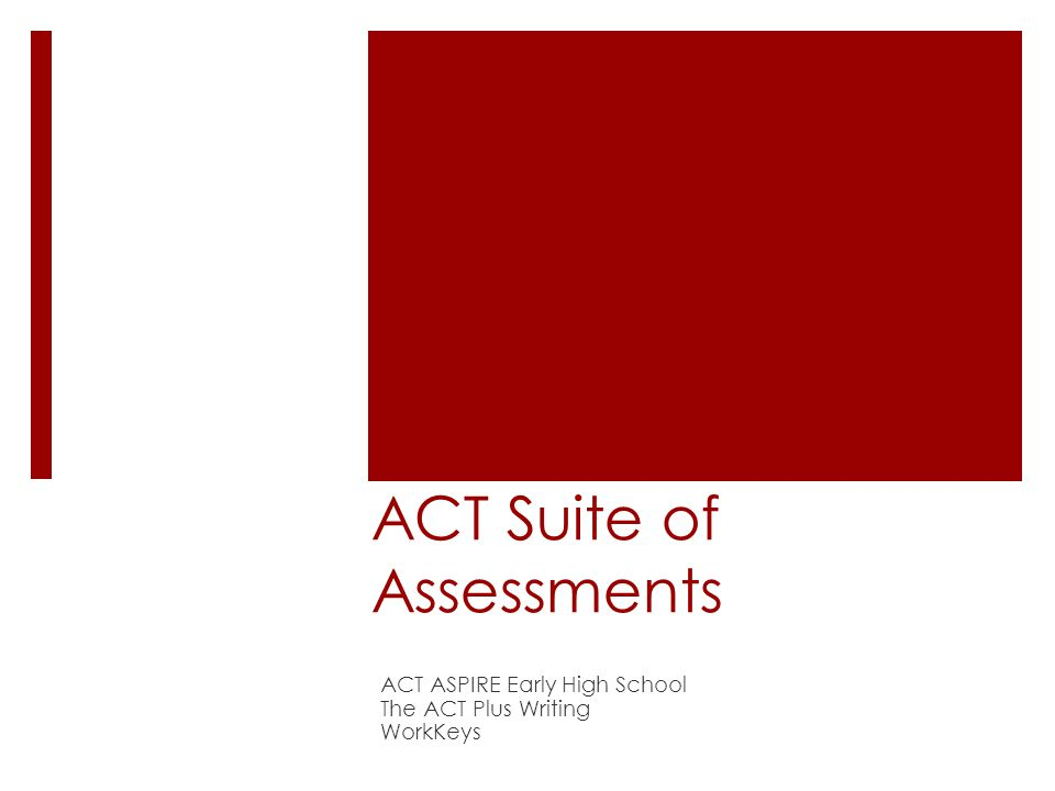 ACT Suite of Assessments ACT ASPIRE Early High School The ACT Plus Writing WorkKeys