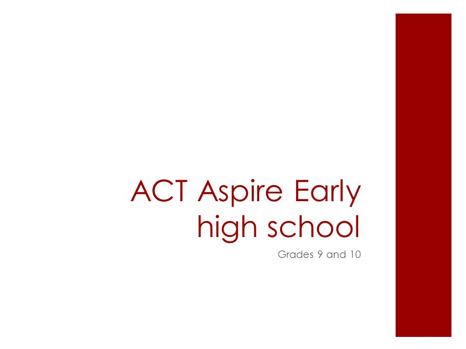 ACT Aspire Early high school Grades 9 and 10