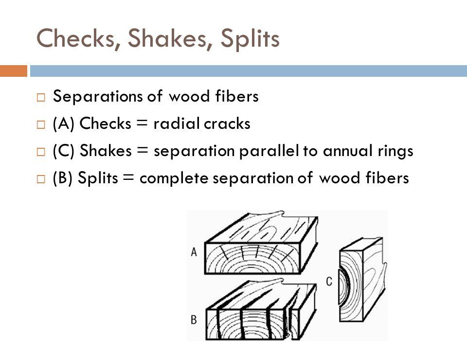 Checks, Shakes, Splits  Separations of wood fibers  (A) Checks = radial cracks  (C) Shakes = separation parallel to annual rings  (B) Splits = com