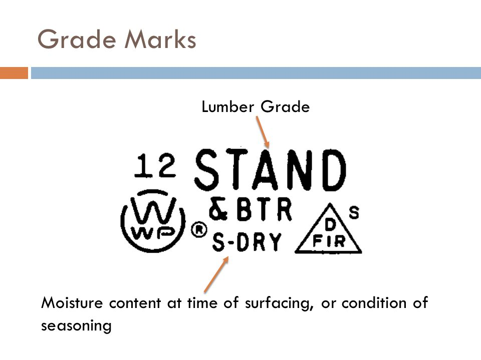Grade Marks Moisture content at time of surfacing, or condition of seasoning Lumber Grade