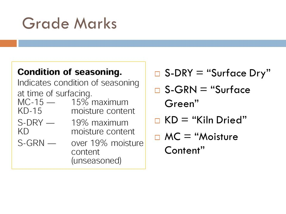 """Grade Marks  S-DRY = """"Surface Dry""""  S-GRN = """"Surface Green""""  KD = """"Kiln Dried""""  MC = """"Moisture Content"""""""