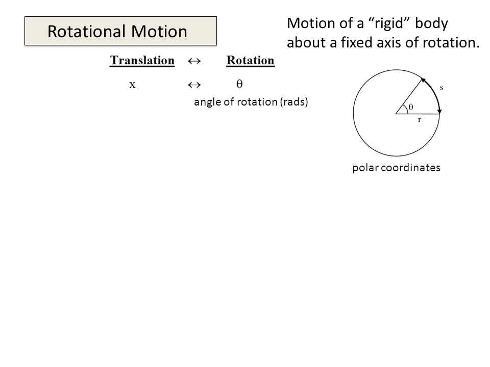 Rotational Motion polar coordinates angle of rotation (rads) Motion of a rigid body about a fixed axis of rotation.