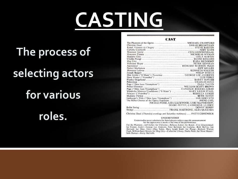 CASTING The process of selecting actors for various roles.