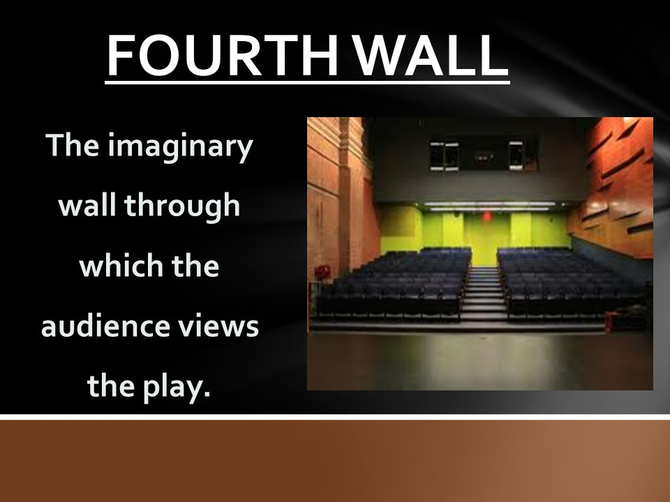 FOURTH WALL The imaginary wall through which the audience views the play.