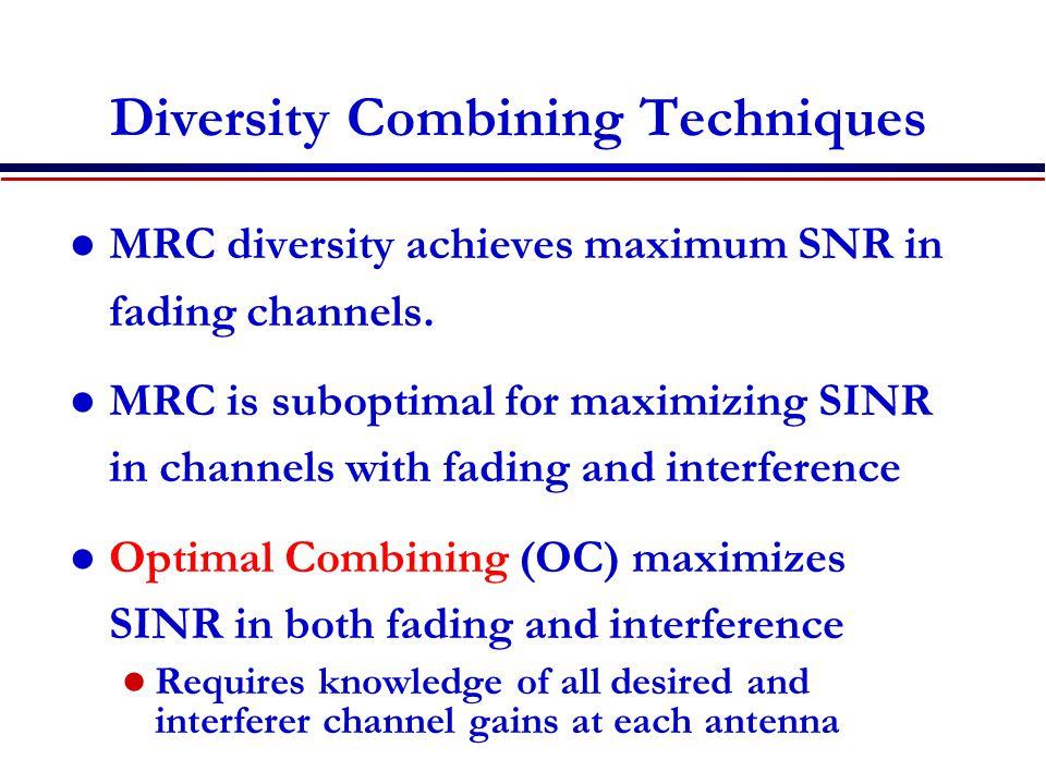 Diversity Combining Techniques MRC diversity achieves maximum SNR in fading channels.