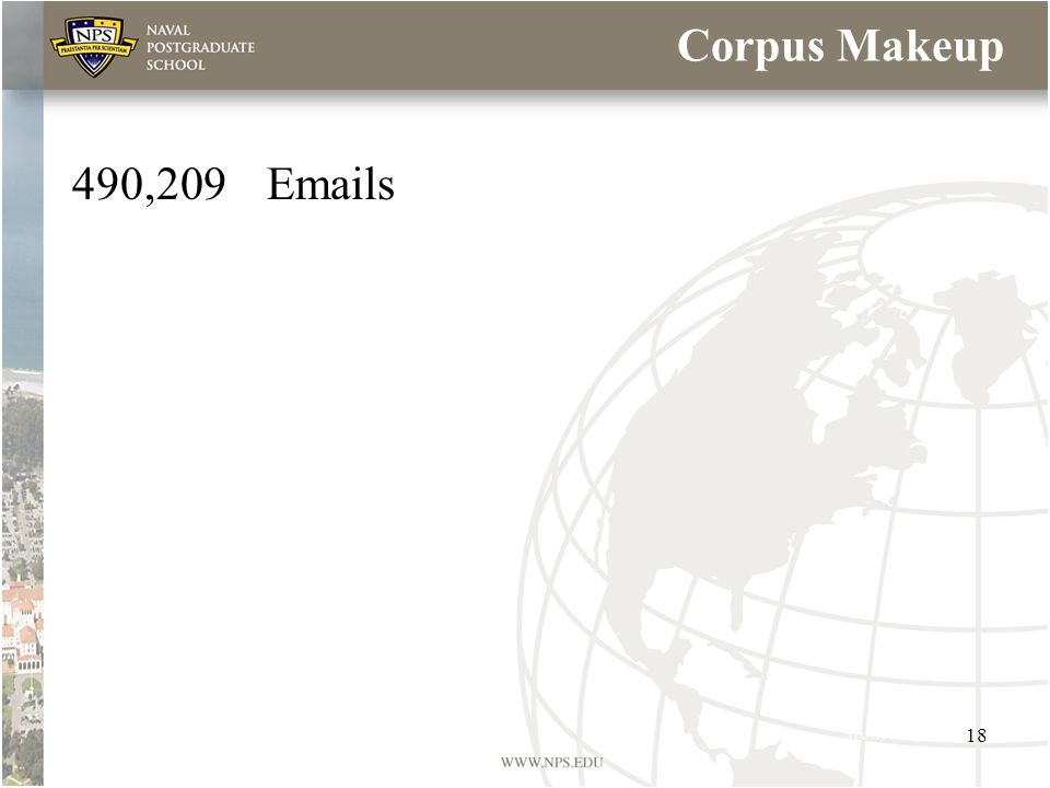 Corpus Makeup 490,209Emails 18