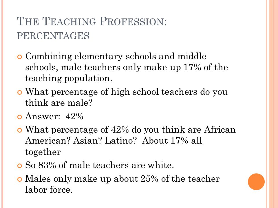 T HE T EACHING P ROFESSION : PERCENTAGES Combining elementary schools and middle schools, male teachers only make up 17% of the teaching population.