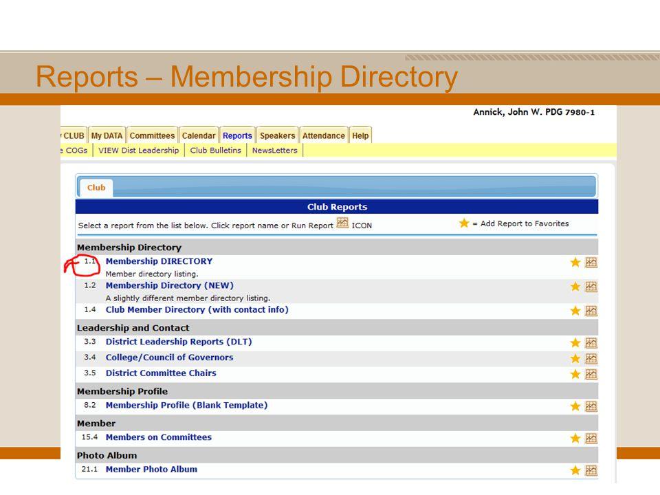 Reports – Membership Directory
