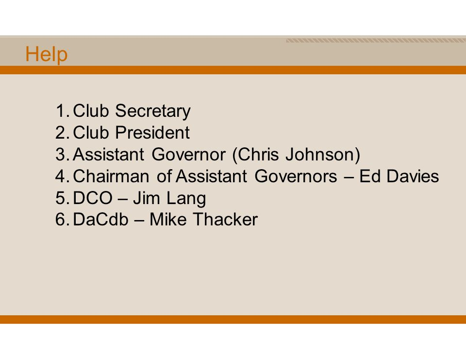 Help 1.Club Secretary 2.Club President 3.Assistant Governor (Chris Johnson) 4.Chairman of Assistant Governors – Ed Davies 5.DCO – Jim Lang 6.DaCdb – Mike Thacker