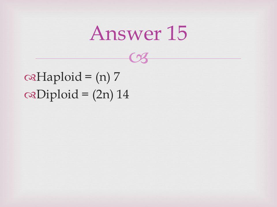   Haploid = (n) 7  Diploid = (2n) 14 Answer 15
