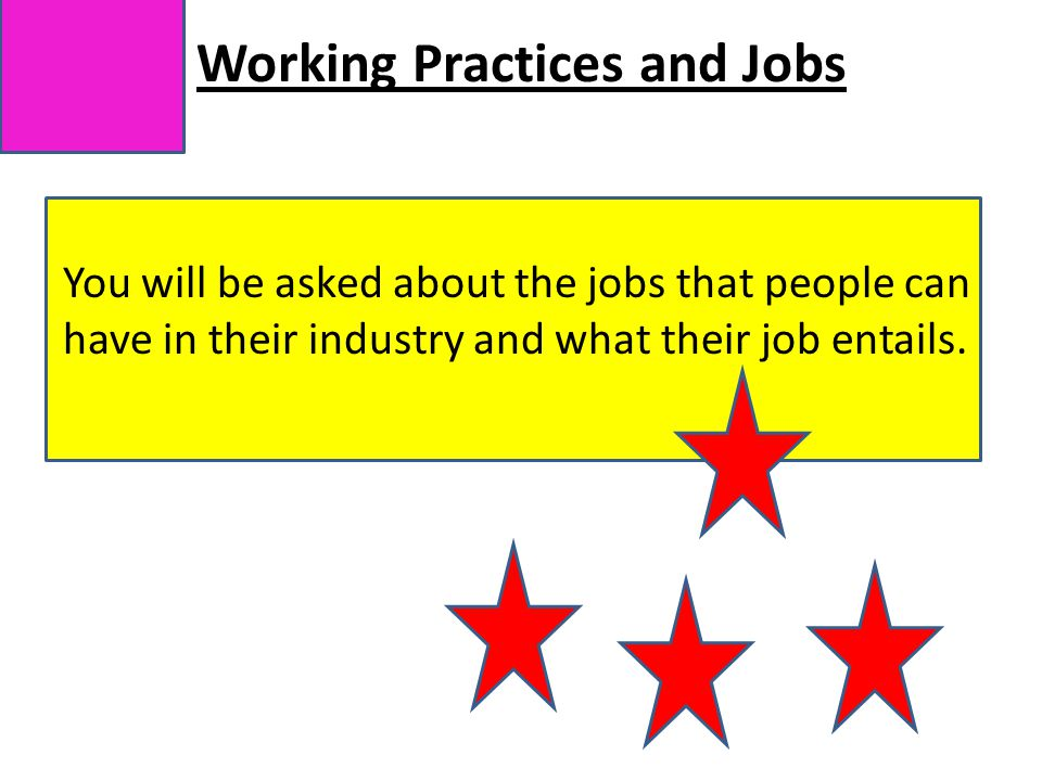 Working Practices and Jobs You will be asked about the jobs that people can have in their industry and what their job entails.