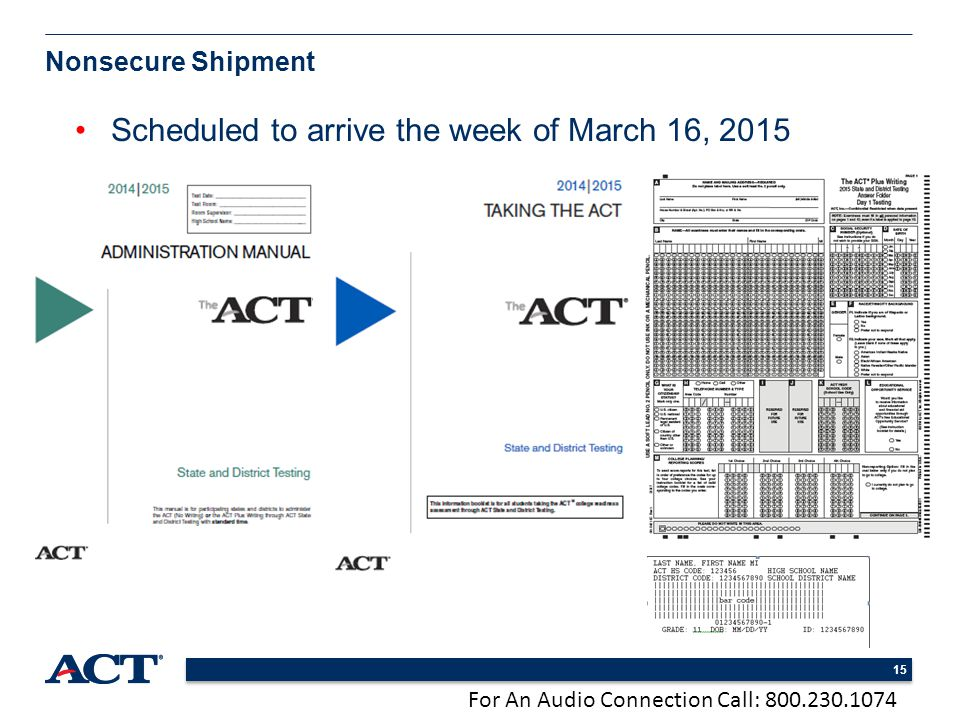For An Audio Connection Call: 800.230.1074 15 Nonsecure Shipment Scheduled to arrive the week of March 16, 2015