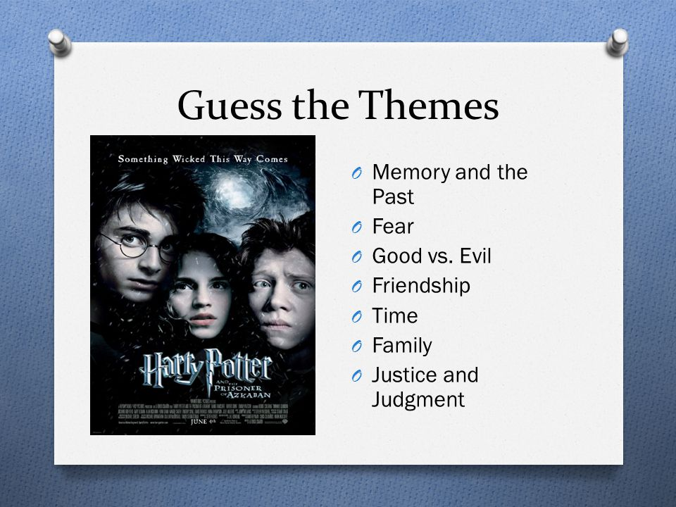 Guess the Themes O Memory and the Past O Fear O Good vs.