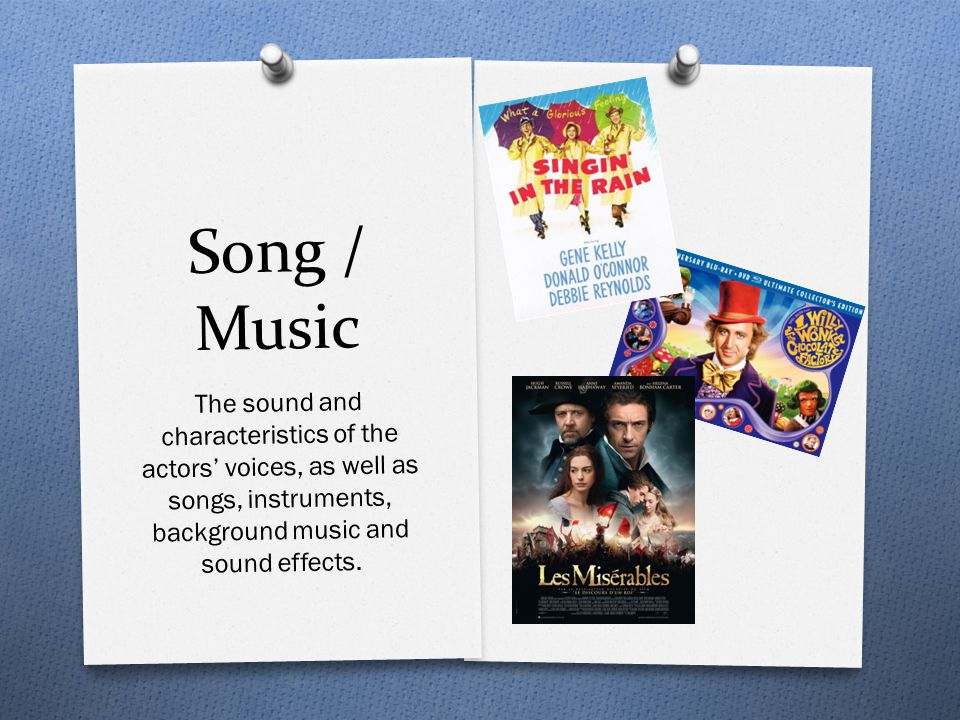 Song / Music The sound and characteristics of the actors' voices, as well as songs, instruments, background music and sound effects.