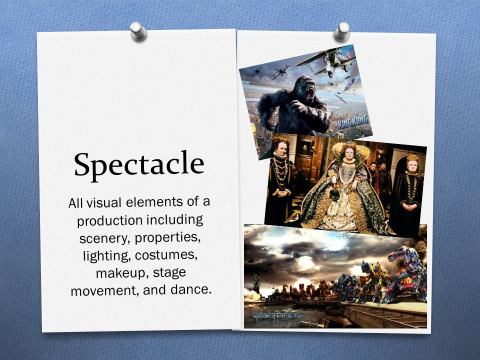 Spectacle All visual elements of a production including scenery, properties, lighting, costumes, makeup, stage movement, and dance.