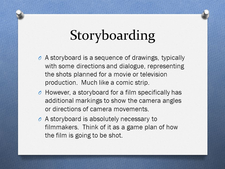 Storyboarding O A storyboard is a sequence of drawings, typically with some directions and dialogue, representing the shots planned for a movie or tel